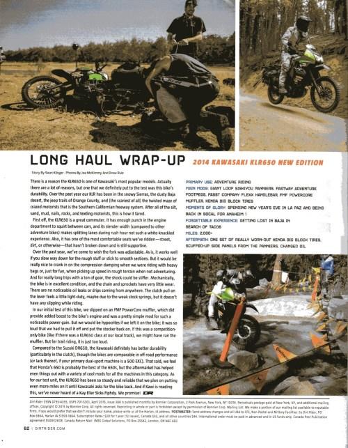 Dirt Rider 2015 KLR 650 with Siskiyou Panniers
