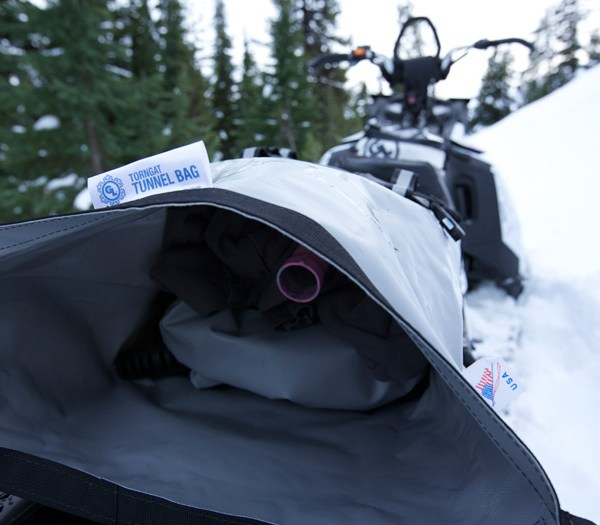 Torngat Tunnel Bag interior on Ski Doo Clutched Films