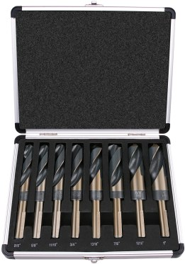 Shank Silver and Deming Drill Bit Set in Aluminum Carry Case