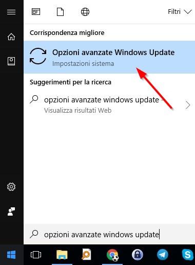 opzioni avanzate per gli update