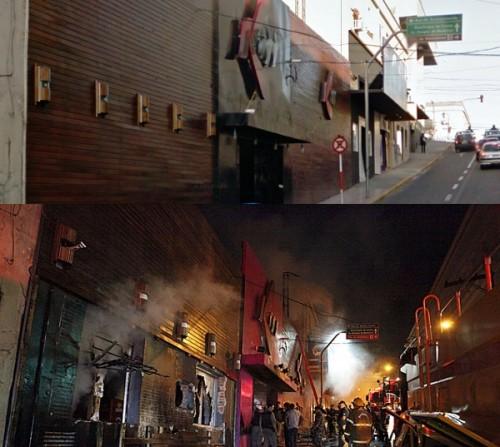 Incêndio em Santa Maria -  Fachada da boate antes e depois