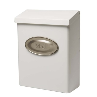 Designer White Wall Mount Mailbox