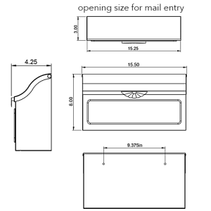 MB676 Wall Mount Mailbox Technical Specifications