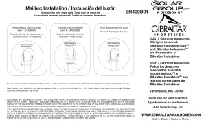 SH400B01 Mailbox Instructions