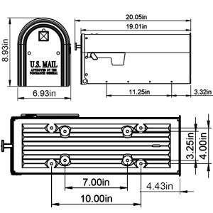 Edson mailbox dimensions