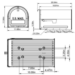 MLM16K mailbox dimensions