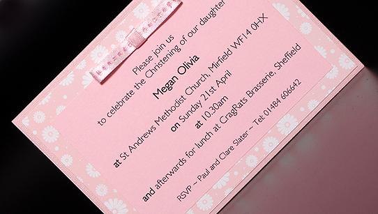 Handmade Girls Designer Christening Invitation