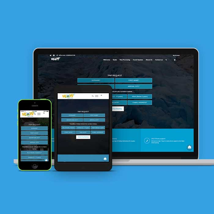 Responsive web design service for WOW Travels and Tours
