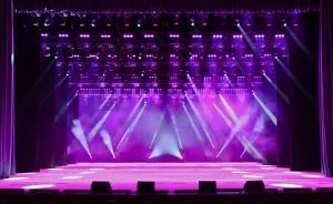 empty stage with purple lights