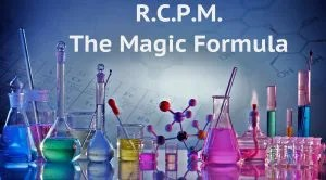 RCPM, The Magic Formula in text over chemistry beakers
