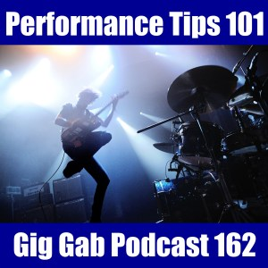 Performance Tips 101 overlaid onto a picture of a rock band performing
