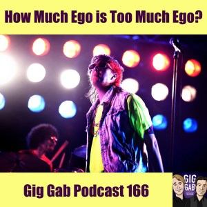 singer onstage in front of lights Gig Gab Podcast 166