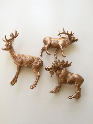 copper sprayed animals