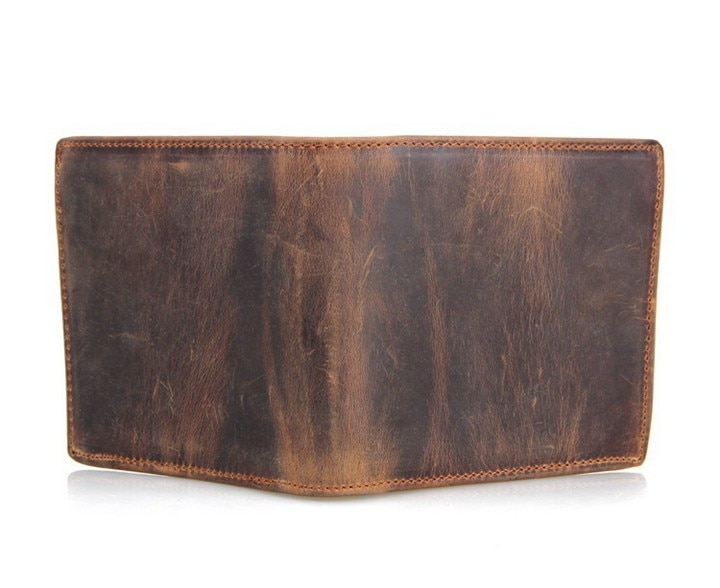 Luxury Coffee and Light Brown Men's Genuine Leather Short Wallet