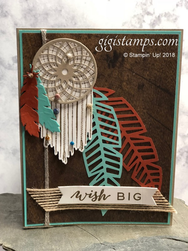 Stamp It Group 2018 Thanksgiving Blog Hop | Stampin' Up! Demonstrator Gianna Melone at Gigi Stamps | Gigi Stamps | Shop Stampin' Up! with me at gigistamps.com | Follow Your Dreams stamp set | Chase Your Dreams thinlits | Picture Perfect Birthday | Paper Pumpkin Friends of a Feather \ Take Out Thinlits | Wood Textures Designer Series Paper