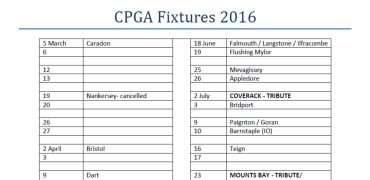 CPGA Fixtures – March update