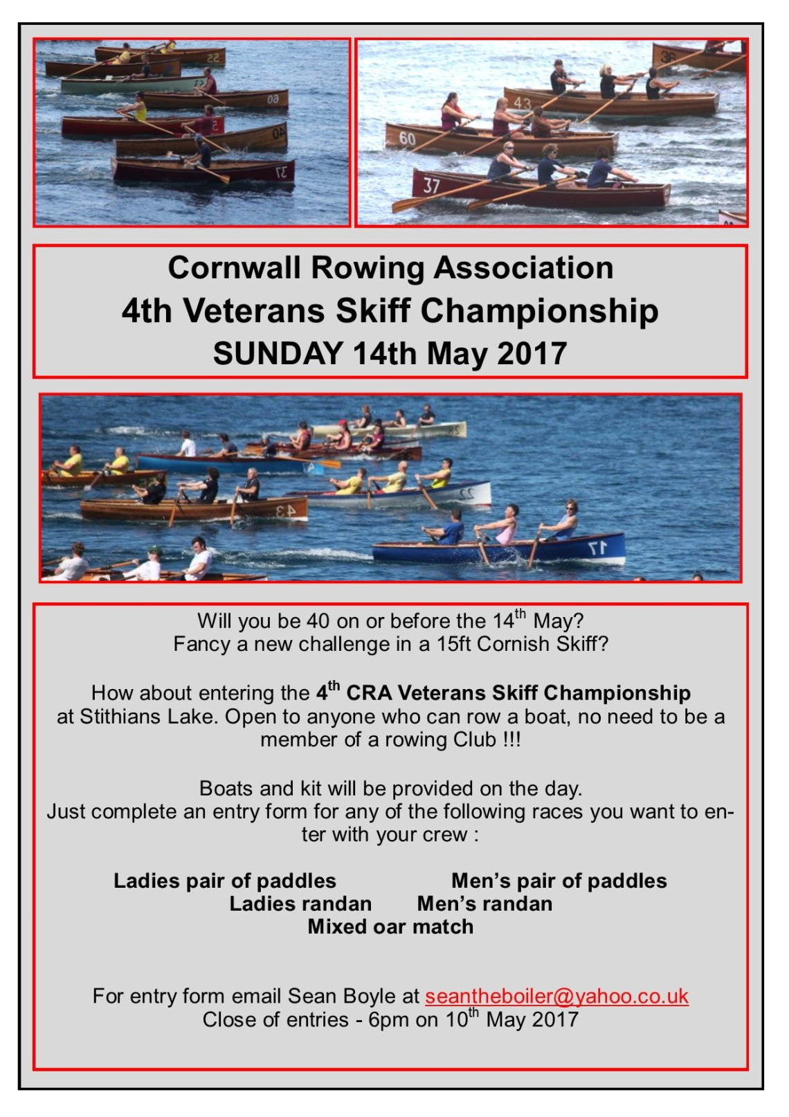 Cornish Rowing Association Veterans Event Invite