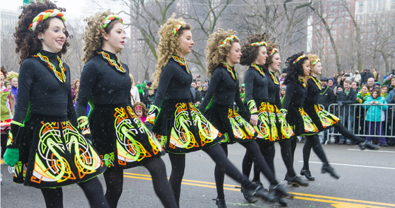 irish dancers in a parade