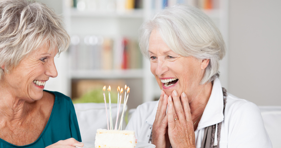 Senior woman celebrating her 80th birthday