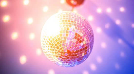 Disco ball at a 70s party