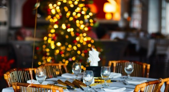 Table setting for corporate holiday party