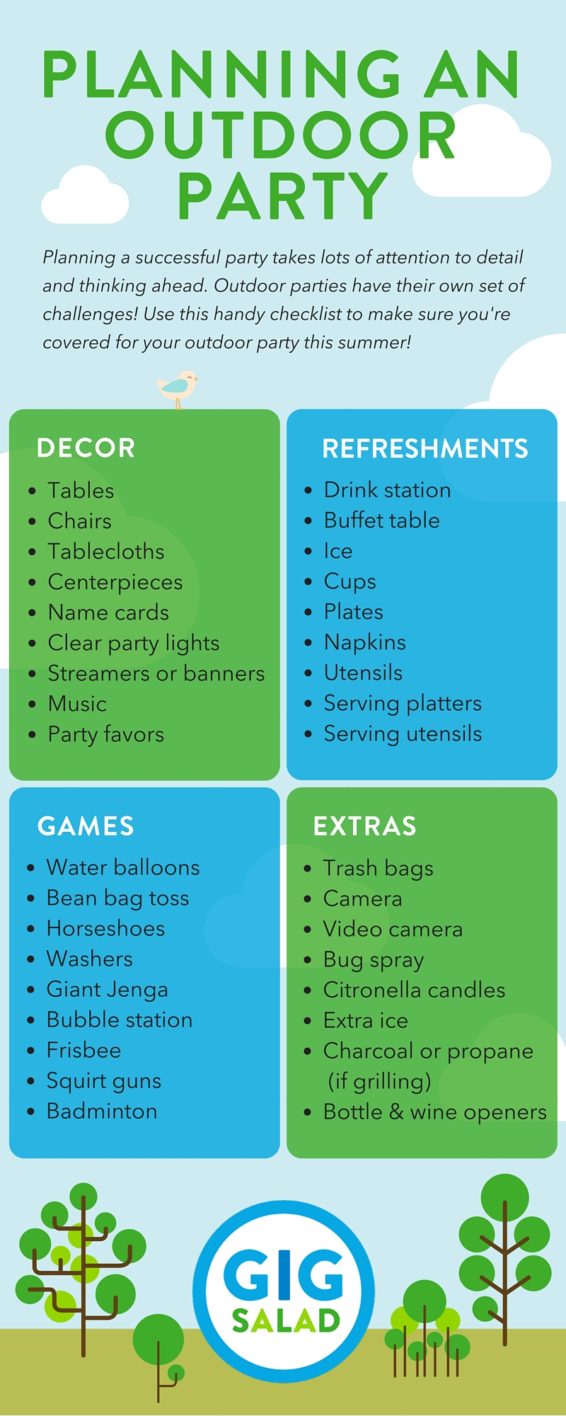 Checklist for Planning an Outdoor Party | The GigSalad ...