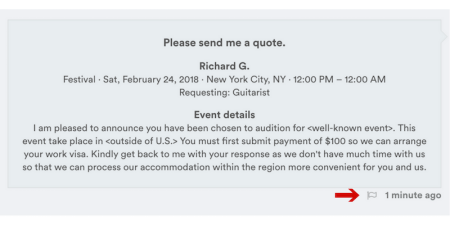 Image of fraudulent quote request.