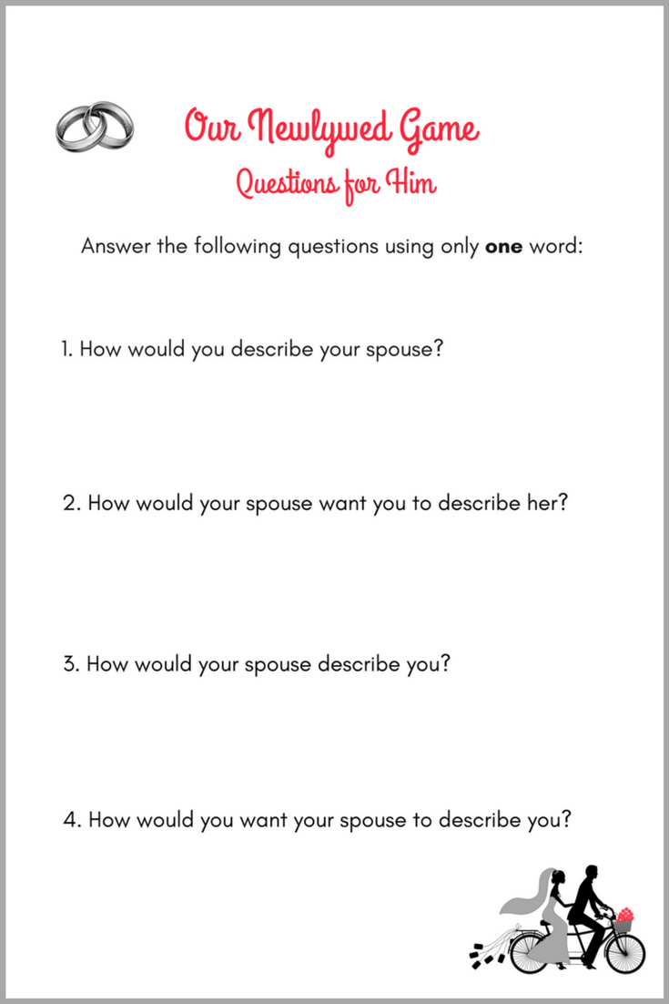Our Newlywed Game Questions for Him