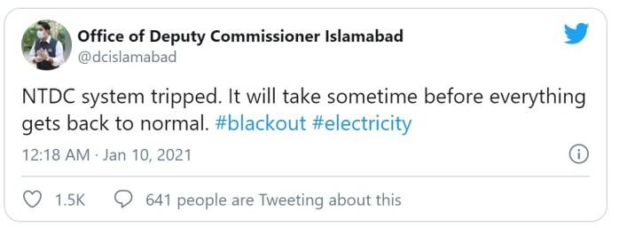 Major power breakdown in Pakistani cities turn into darkness
