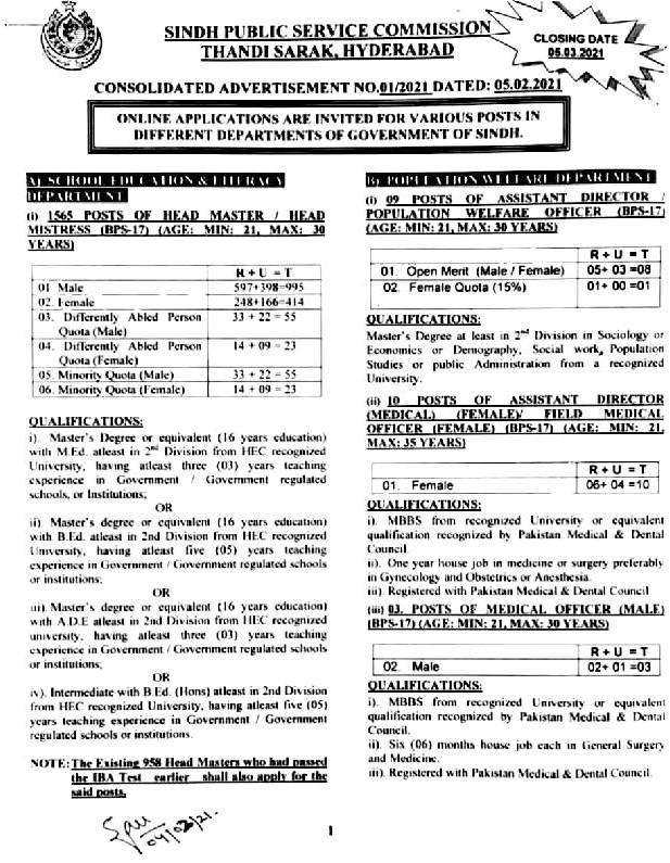Sindh Public Service Commission SPSC Jobs