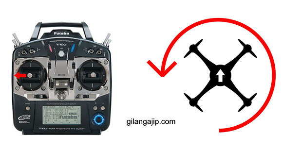 cara menerbangkan quadcopter fungsi rudder yaw