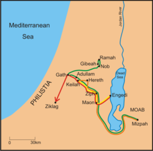 David's journeys as he fled from Saul