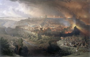 The destruction of Jerusalem by the Romans in 70AD -- a painting by David Roberts (1796-1849)
