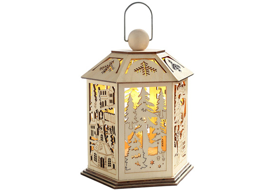WeRChristmas Pre-Lit Wooden Lantern Christmas Decoration with Warm LED Lights, 20 cm - White