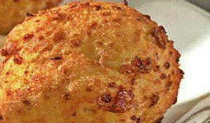 A single crab cake from San Chez.