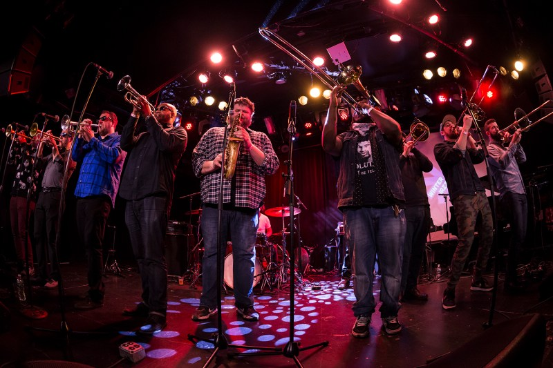 New York, NY - January 11, 2018: No BS! Brass band with singer Samantha Reed performs during 2018 New York Winter Jazz Festival at Le Poisson Rouge
