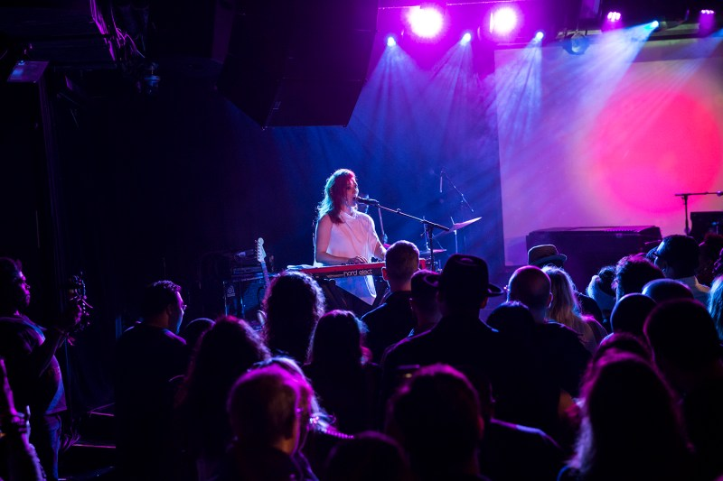 New York, NY - January 11, 2018: My Brightest Diamond with singer Shara Nova and drummer Aaron Steele performs during 2018 New York Winter Jazz Festival at Le Poisson Rouge