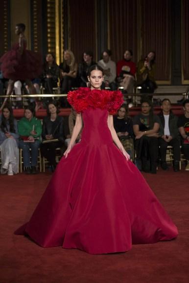 New York, NY - February 10, 2018: Model walks the runway at the Christian Siriano fashion show during New York Fashion Week at Grand Masonic Lodge (Photo: Lev Radin/Gildshire)