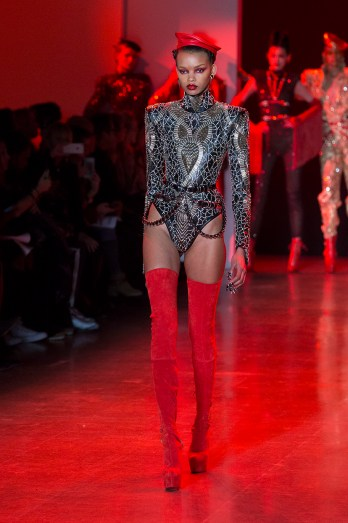 New York, NY - February 13, 2018: Djenice Duarte walks runway for The Blonds fashion show during Autumn/Winter 2018 New York Fashion Week at Spring Studios