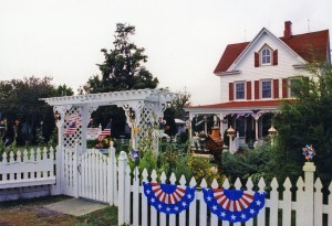 A Tangier Island Inn ready for a patriotic holiday.