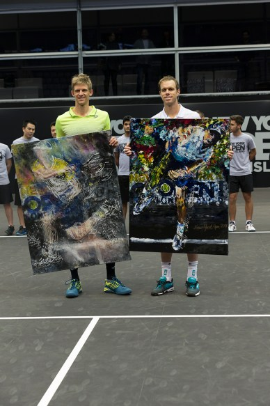 Kevin Anderson andSam Querrey, at the first-ever ATP250 New York Open tennis championship (Photo: Lev Radin/Gildshire)