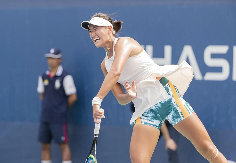 New York, NY - September 2, 2018: Xiyu Wang of China serves against Emma Navarro of USA during 1st round of Girls' Singles at US Open Championships on USTA Billie Jean King National Tennis Center (Photo: Lev Radin/Gildshire)