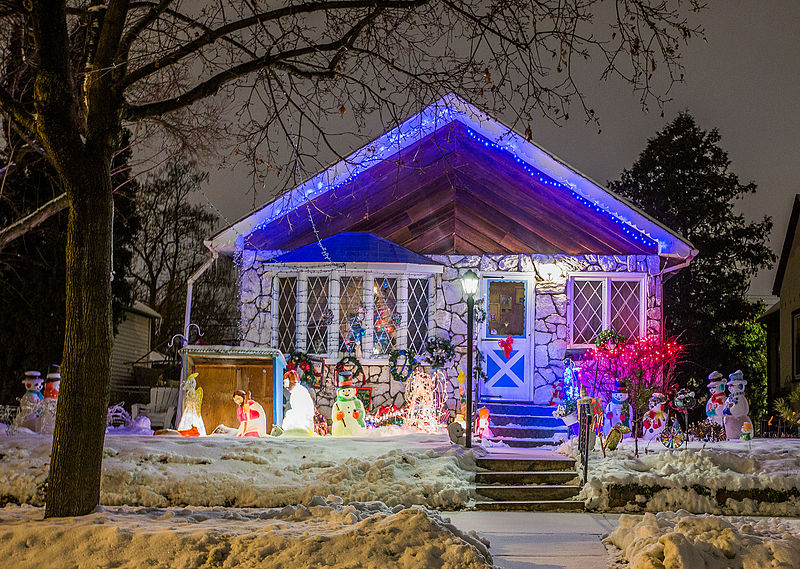 Wrapping your trees, bushes, light posts, mailbox, and/or other outdoor elements will brighten your evenings, naturally.