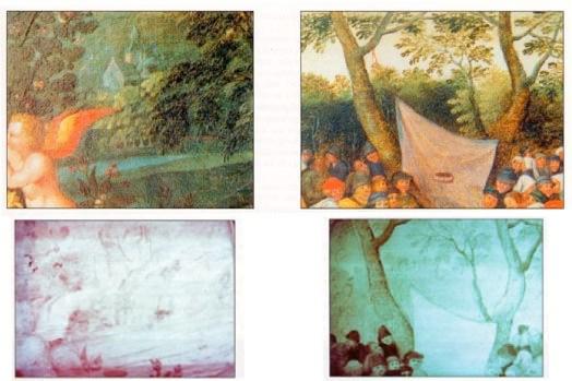 """La faible densité moléculaire des pigments et des couches picturales utilisées par la plupart des artistes """"primitifs"""" flamands ou italiens permet aux examens par réflectographie infrarouge d'obtenir souvent d'excellents résultats comme dans les deux cas présents. Nous sommes en présence de fragments de tableaux flamands du XVème et XVIème siècle en vision naturelle et en vision due à la réflectographie infrarouge. Les rayonnements infrarouges nous permettent dans ce cas de figure de découvrir les dessins préparatoires, indétectables par tout autre procédé, et les restaurations anciennes."""