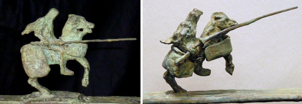 Table Saint Georges, chevalier authentique (à gauche) et chevalier contrefait (à droite)