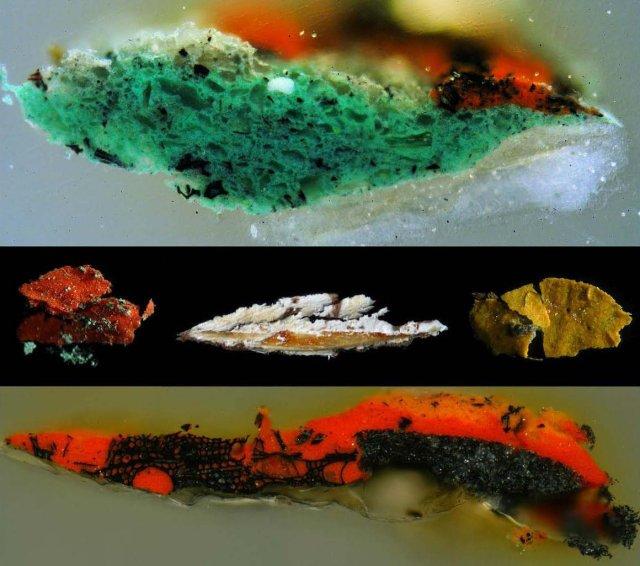 Coupes microscopiques des échantillons de peinture prélevés pour être identifiés puis analysés ensuite au MEB.