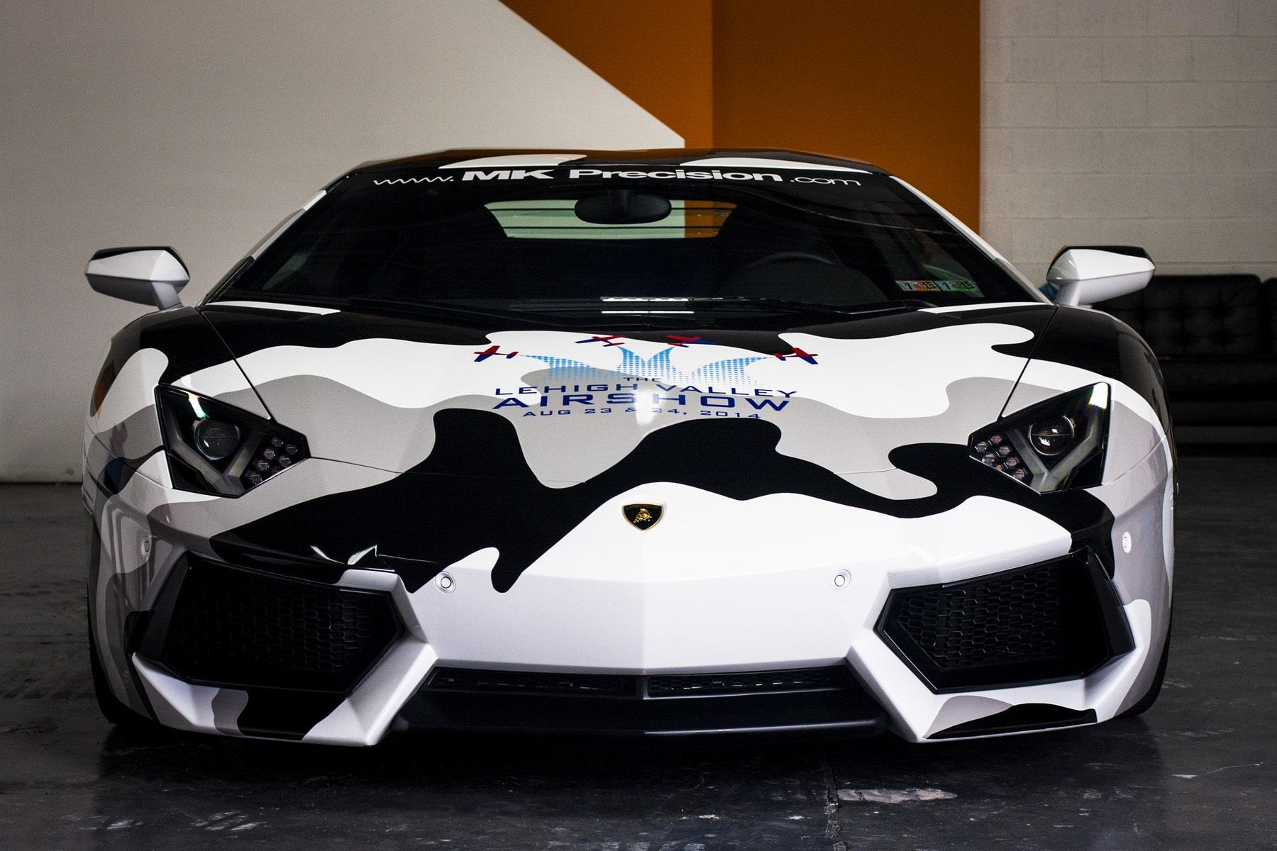 MK Precision Lamborghini Aventador Camouflage Wrap - Front View