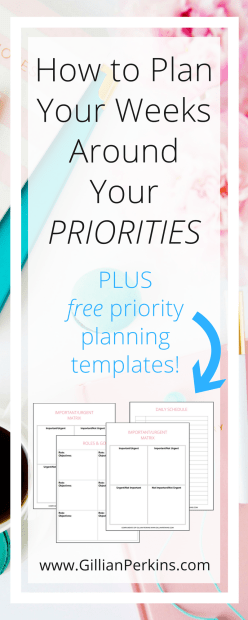 Want to reach your goals faster AND be more relaxed? Sounds like you need to prioritize your schedule! Click to learn how to plan your weeks around your priorities (plus, grab the free planning pack)!