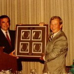 Gil presenting the four horseshoes of a famous winning horse at Santa Anita Park.