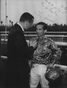 To Gil Stratton, one of the best jockeys of the Sportscasters. Willie Shoemaker. Taken at Santa Anita Park.
